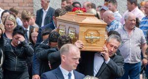 "The remains of Patrick ""Ginty"" O'Donnell depart the Church of the Immaculate Conception, Ballindangan, Co Cork, following his requiem Mass. Photograph: Provision"