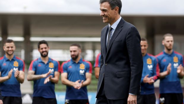 New Spanish prime minister Pedro Sánchez visits Spain's national soccer team players during a World Cup training session at Las Rozas sports facilities in Madrid, Spain, June 5th, 2018. Photograph: Javier Lizon/EPA
