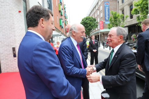 HEALTHCARE EDUCATION: Former New York mayor, businessman Michael Bloomberg, arrives at 26 York St in Dublin - labelled as Europe's most advanced healthcare education facility - and is greeted by businessman Dermot Desmond and Prof John Hyland, president of the Royal College of Surgeons in Ireland. The facility is intended to put Ireland at the forefront of pioneering developments in the delivery of medical education. Photograph: Julien Behal
