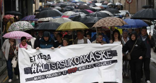 A protest against a judge's decision to sentence eight defendants to prison, accused of assaulting two Civil Guard officers and their girlfriends in the village of Alsasua, in Navarra, northeastern Spain. Photograph: EPA/Jesus Diges
