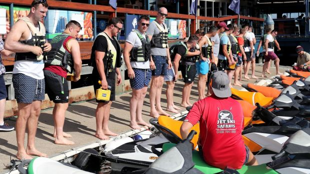 The Irish players gather before going out jet skiing ahead of their Test series with Australia. Photo: Dan Sheridan/Inpho