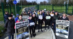 Parents and students of Coláiste Raithin in Bray, Co Wicklow, whose new school building is being held up by the collapse of Carillion.
