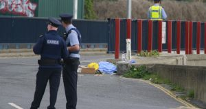 Gardaí at the scene of a fatal shooting at Bray Boxing Club in  Co Wicklow on Tuesday. Photograph: Nick Bradshaw.