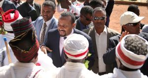 Ethiopia's prime minister Abiy Ahmed (centre) on April 11th: Tuesday's moves are part of a radical reform agenda. Photograph: Tiksa Negeri/Reuters