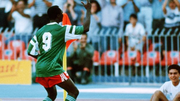 Roger Milla of Cameroon celebrates scoring against Colombia in 1990. Photograph: Getty Images