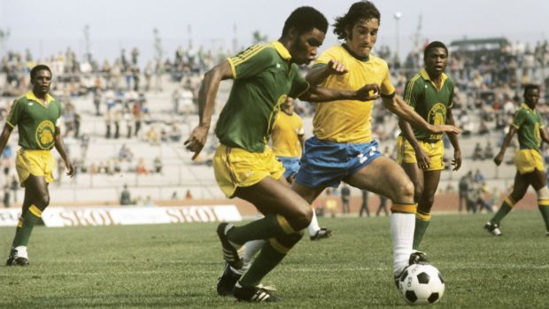 Zaire players were told they would not be allowed to return home if they lost to Brazil by more than four goals in 1974. Photograph: Getty Images