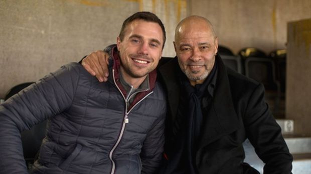 Tommy Bowe meets Paul McGrath, who played in two World Cups, notching up 83 caps