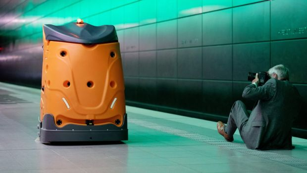 Dirt Dalek: the Taski Swingobot 2000 cleaning robot. Photograph: Daniel Reinhardt / AFP
