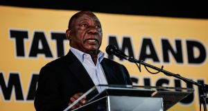 African National Congress (ANC) leader and South African president  Cyril Ramaphosa addresses a meeting of the  party on its land expropriation policy in Johannesburg in May. File photograph: Gulshan Khan/AFP/Getty Images