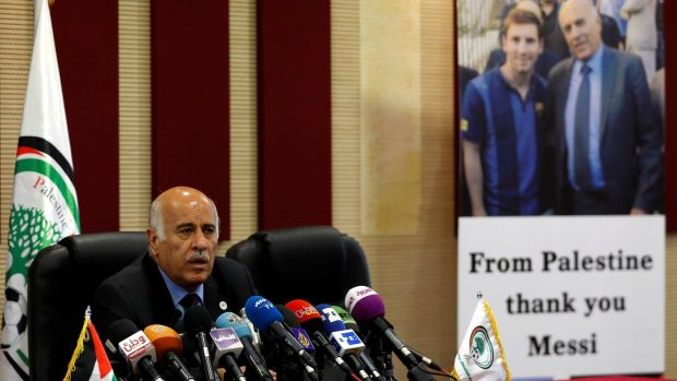 6f1a1d132 Palestinian FA chief Jibril Rajoub speaks during a news conference in  Ramallah on Wednesday. Photograph