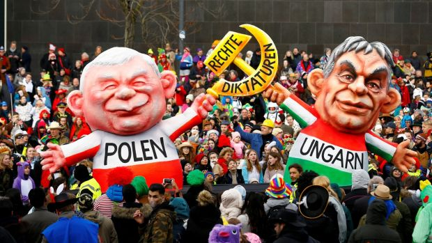 A carnival float depicting leader of the ruling party Law and Justice in Poland Jaroslaw Kaczynski and Hungarian Prime Minister Viktor Orban at the traditional Rosenmontag carnival parade in Duesseldorf, Germany, in February 2018. File photograph: Thilo Schmuelgen/Reuters