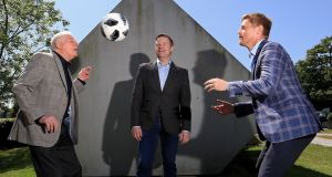 Eamon Dunphy and Damien Duff with presenter Darragh Maloney. Photograph: Donall Farmer