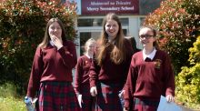 From left are Amy Nolan, Rebekah Furlong and Chelsea Coulahan after they sat  Leaving Cert English (paper 1), at Mercy Secondary School, Inchicore, Dublin. Photograph: Dara Mac Dónaill/The Irish Times