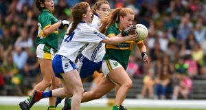 Andrea Murphy of Kerry and  Kate McGrath of Waterford during the women's   championship semi-final at Fitzgerald Stadium, Killarney, on June 2nd. Photograph:  Matt Browne/Sportsfile