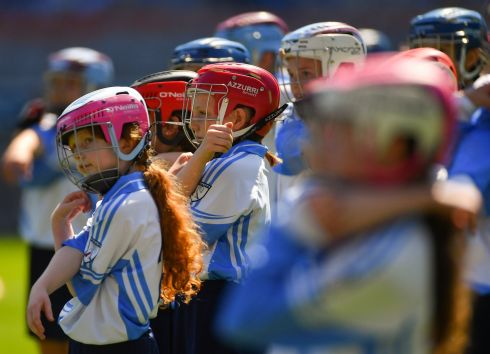 Gaelscoil Inse Chor players warm-up before their game against St. Raphaela's PS, Stillorgan. Photo: Piaras Ó Mídheach/Sportsfile