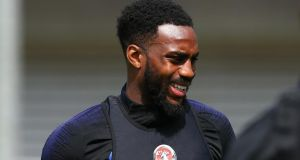 Danny Rose   during  an England training session at St Georges Park in Burton-upon-Trent. Photograph:  Alex Livesey/Getty Images