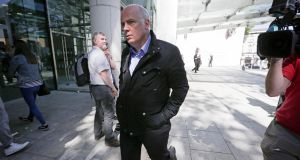 Former chief executive of Anglo Irish Bank David Drumm (51) leaves the Dublin Circuit Criminal Court  where he was found guilty of conspiracy to defraud. Photograph: Collins Courts
