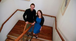 Privacy activist Max Schrems at Trinity College with  Dr Nora Ní Loideain, director  in information law and policy at the Institute of Advanced Legal Studies at the University of London. Photograph: Nick Bradshaw