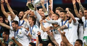Real Madrid celebrates winning the Uefa Champions League final in May.  Photograph: Getty Images