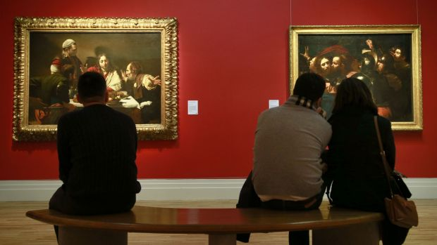 Vistors at the 'Beyond Caravaggio' exhibition at the National Gallery of Ireland, the most visited free attraction in Ireland in 2017. Photograph Nick Bradshaw