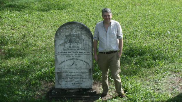 Hunting down an informer: Jonathan Wooding at the grave of his great-great-grandparents, Hubert Patrick Macklin and his wife, Kate, in West Kempsey cemetery