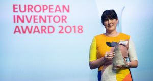 Jane Ní Dhulchaointigh receiving her  European Inventor Award for Sugru.