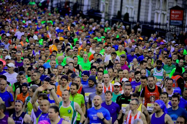 Competitors at the start during the Dublin Marathon last October. Photograph: Cyril Byrne