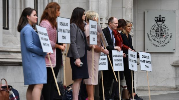 Anti-abortion: demonstrators outside the UK supreme court, in London. Photograph: Ben Stansall/AFP/Getty