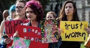 Pro-choice: campaigners demonstrate at Westminster. Photograph: Jack Taylor/Getty