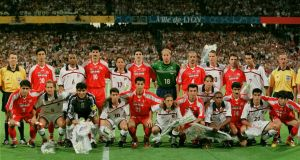 The teams of Iran and US before the 1998 World Cup soccer match. Photograph: Jerome Prevost/Getty Images