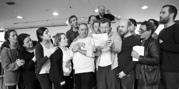 Stephen Swift with fellow actors at the Abbey. Photograph: Abbey Theatre