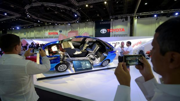 Toyota hybrid technology at Dubai Motor Show. Photograph: Tom Dulat/Getty Images