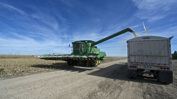 A John Deere combine sends milo grain into a waiting tractor trailer in Ingalls, Kansas. Photograph: Mark Reinstein/Corbis via Getty Images