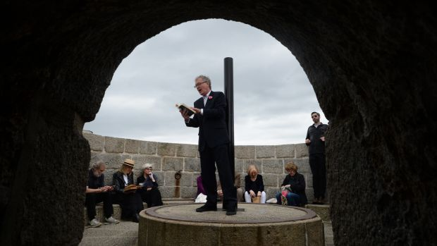 Bloomsday: Bryan Murray reading from Ulysses at Joyce's Tower in Sandycove during the Bloomsday celebrations. Photograph: Cyril Byrne / The Irish Times