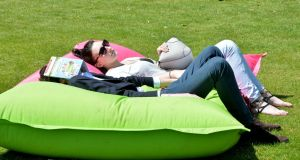 Relaxing at the Taste of Dublin festival in the Iveagh Gardens, Harcourt Street, DublinJune 14th-17th.  Photograph: Alan Betson / The Irish Times