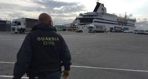 The civil guard presence at Bilbao ferry terminal has been increased to control stowaway attempts. Photograph: Guy Hedgecoe