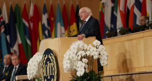 Michael D Higgins addressing the International Labour Conference in Geneva, Switzerland. Photograph: Maxwell's