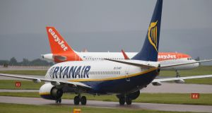 Ryanair: the airline fell 2.6 per cent to €16.13 following downgrades by Deutsche Bank and Exane BNP. Photograph: Andrew Yates/Reuters