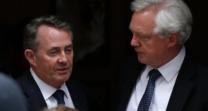 Britain's Brexit minister David Davis (right), with international trade secretary Liam Fox outside 10 Downing Street on Thursday. Photograph: Adrian Dennis/AFP/Getty Images