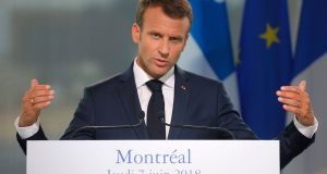 French president Emmanuel Macron speaks during a press conference with Quebec Prime Minister Philippe Couillard in Montreal, Quebec . Photograph: Ludovic Marinludovic/Getty Images
