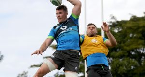 Peter O'Mahony and Tadhg Beirne during a training session at Royal Pines resort, Gold Coast, Queensland. Photograph: Dan Sheridan/Inpho