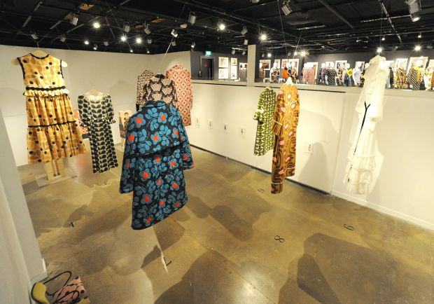 Large-scale Orla Kiely dresses at the Fashion and Textile Museum, London. Photograph: Dave Benett/Getty Images