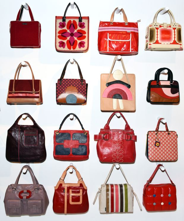 Some of the Orla Kiely bags on display at the London Textile and Fashion Museum exhibition.