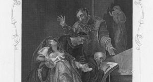 The imposture of the Holy Maid of Kent, a depiction of Elizabeth Barton, (1506-1534) receiving a prophesy while in a trance, circa 1534. Barton was an English Catholic nun, known as the 'Maid of Kent'. She was executed as a result of her prophecy that the marriage of King Henry VIII to Anne Boleyn would lead to Henry's death. Engraving by J Rogers after a painting by A Tresham Photograph: Kean Collection/Getty Images