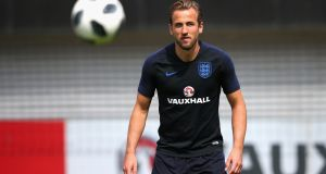 Harry Kane of England receives the ball during an England training session at St Georges Park prior to their departure for Russia. Kane's club future has been confirmed after he signed a new six-year deal with Tottenham Hotspur. Photo: Alex Livesey/Getty Images