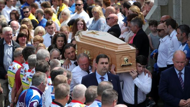 The remains of Bobby Messett, who was shot dead in Bray Boxing Club on Tuesday are carried to the cemetery after his funeral mass in Kilmacanogue on Friday afternoon. Photograph: Colin Keegan/ Collins