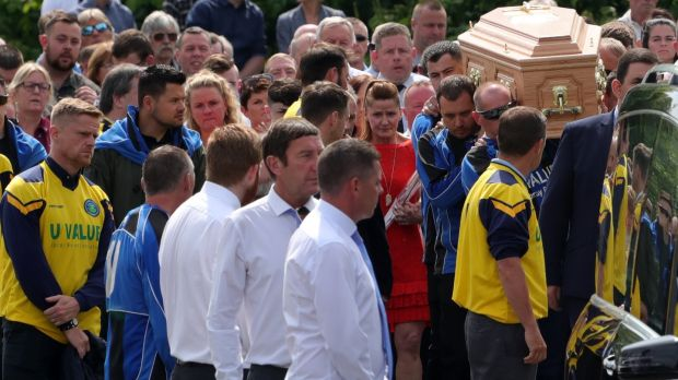 Former Ireland International, Damien Duff (on left of picture) at the funeral of Bobby Messett, who was shot dead in Bray Boxing Club last Tuesday. His cortege was flanked by members of Bray Wheelers Cycling Club. Photograph: Colin Keegan/Collins