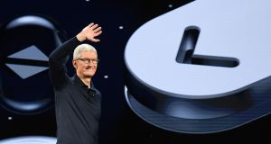 Apple's CEO Tim Cook arrives on stage during the Apple Worldwide Developers Conference (WWDC) in San Jose, California on Monday. Photograph: David Paul Morris/Bloomberg