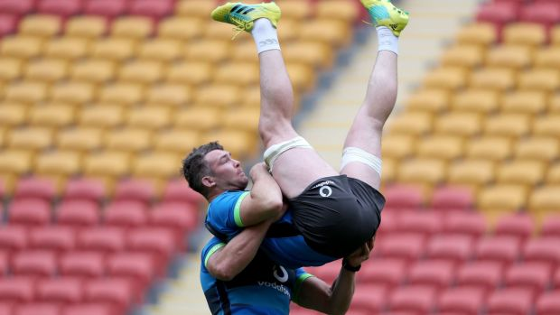 CJ Stander and Peter O'Mahony during training. Photo: Dan Sheridan/Inpho