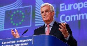 European Union chief Brexit negotiator Michel Barnier speaks during a media conference at EU headquarters in Brussels on Friday. Photograph: Olivier Hoslet/Pool Photo via AP